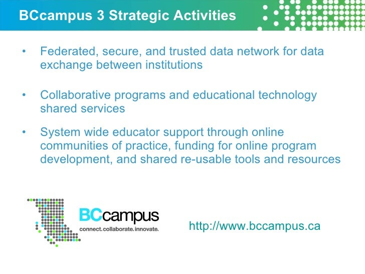 BCcampus 3 Strategic Activities <ul><li>Federated, secure, and trusted data network for data exchange between institutions...