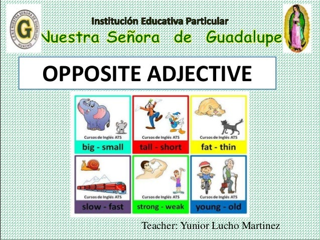 Teacher: Yunior Lucho Martinez OPPOSITE ADJECTIVE