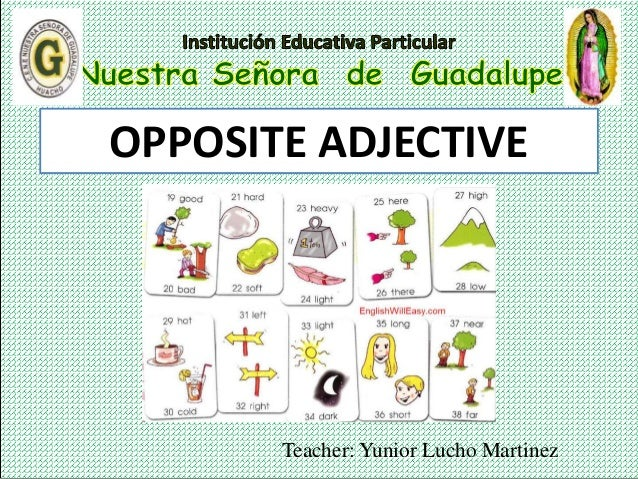 Teacher: Yunior Lucho Martinez OPPOSITE ADJECTIVE