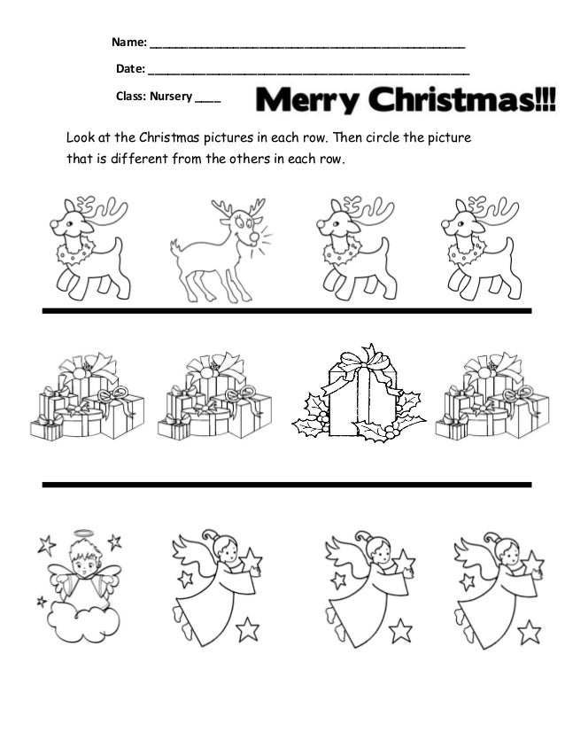 same/different Christmas Worksheets