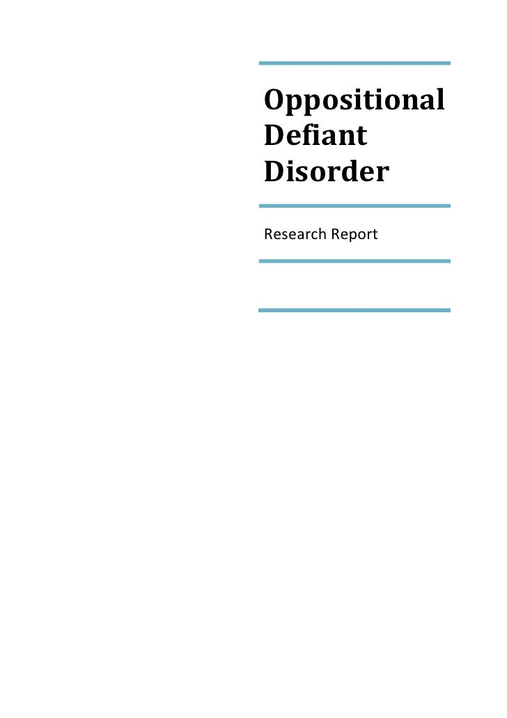 OppositionalDefiantDisorderResearch Report