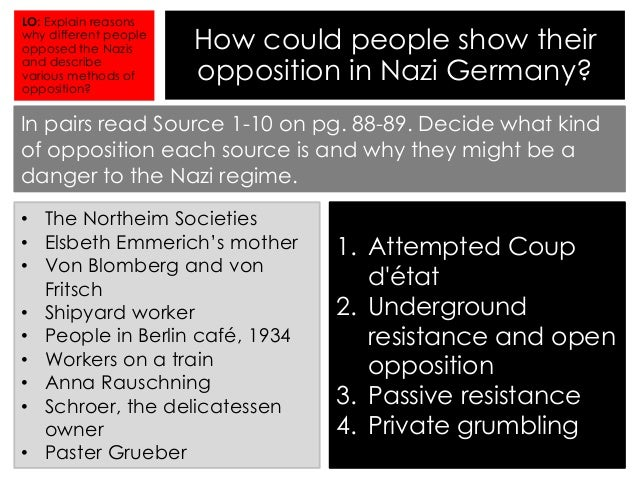 opposition to the nazi regime 1939 In this way the influence of jewish elements on the affairs of germany was extinguished, and one more potential source of opposition to nazi policy was rendered powerless in any consideration of the crushing of opposition, the massacre of the 30th june, 1934, must not be forgotten.