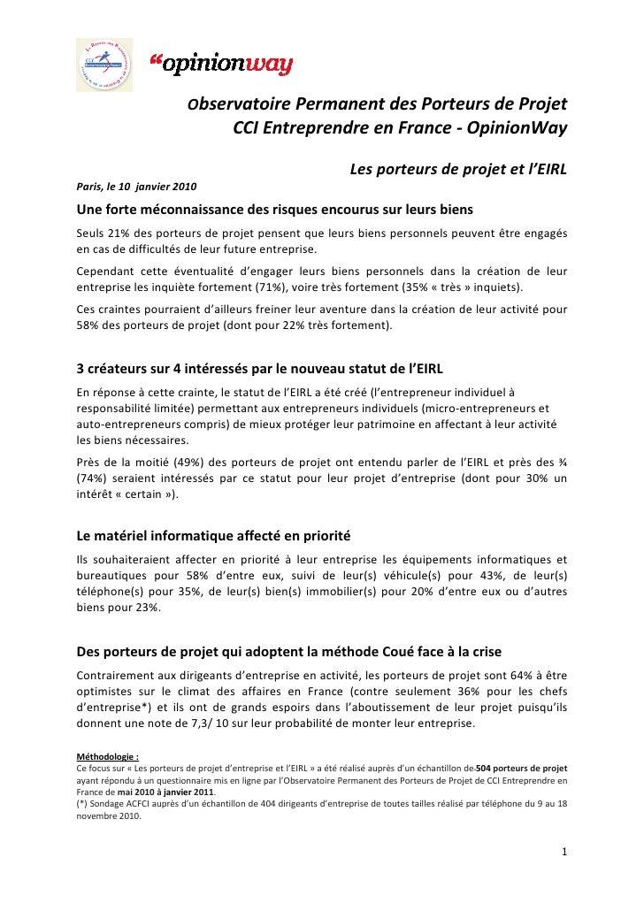 Observatoire Permanent des Porteurs de Projet                                        CCI Entreprendre en France - OpinionW...
