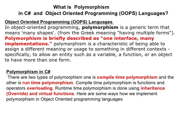 What is  Polymorphism in C#  and  Object Oriented Programming (OOPS) Languages?   Object Oriented Programming (OOPS) Langu...