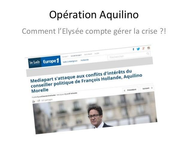 Opération Aquilino Comment l'Elysée compte gérer la crise ?!