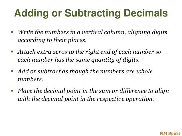 Oprations Of Decimal Numbers
