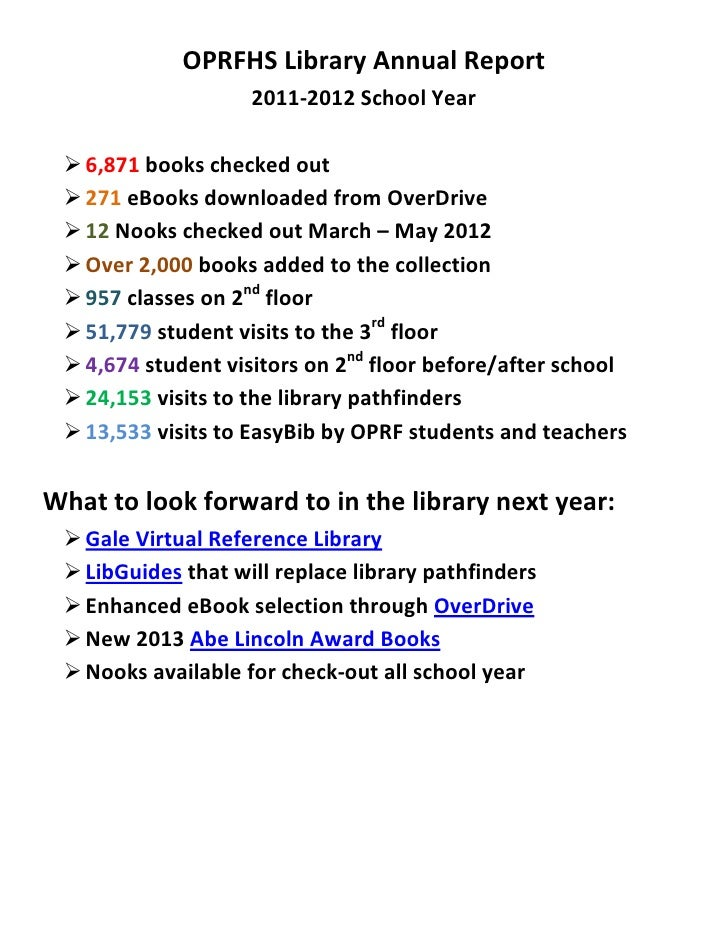OPRFHS Library Annual Report                    2011-2012 School Year  6,871 books checked out  271 eBooks downloaded fr...
