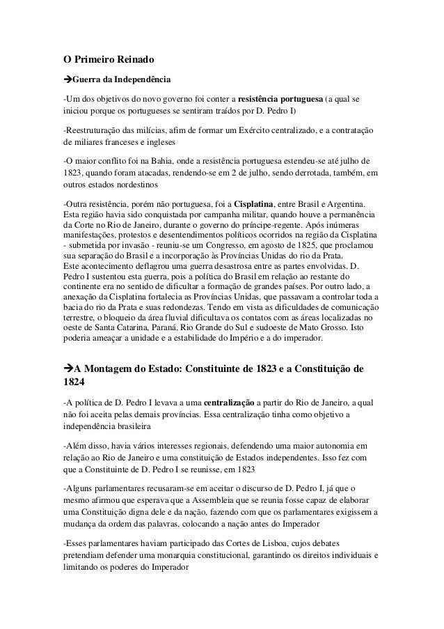 O Primeiro ReinadoGuerra da Independência-Um dos objetivos do novo governo foi conter a resistência portuguesa (a qual se...