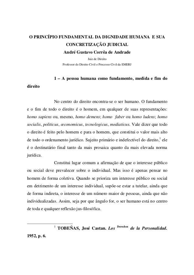 O PRINCÍPIO FUNDAMENTAL DA DIGNIDADE HUMANA E SUA CONCRETIZAÇÃO JUDICIAL André Gustavo Corrêa de Andrade Juiz de Direito P...