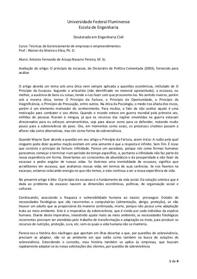 1 de 4 Universidade Federal Fluminense Escola de Engenharia Doutorado em Engenharia Civil Curso: Técnicas de Gerenciamento...