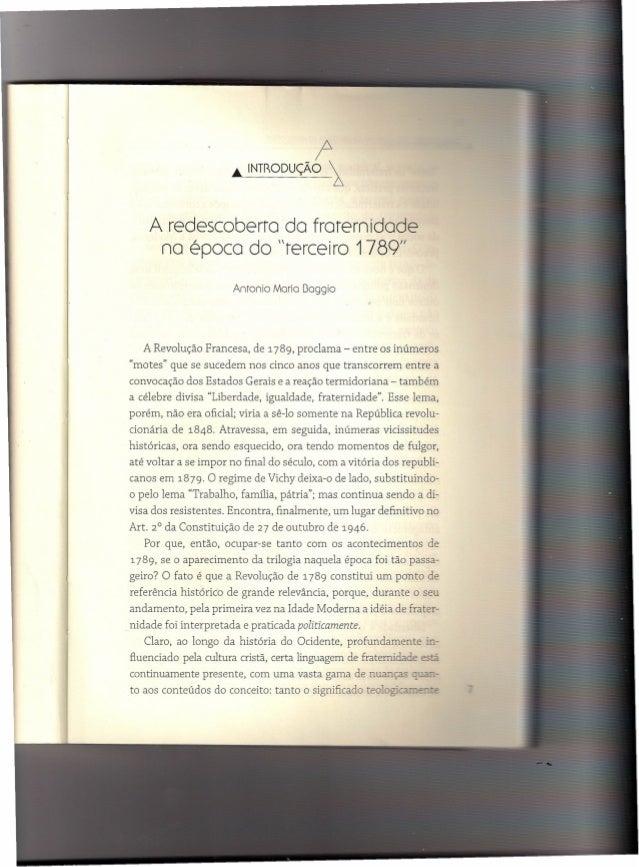 """.•. INT~ODUÇÃO ~                                            r    A redescoberra do frarernidade     no época do """"terceiro ..."""