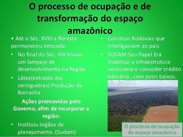 O processo de ocupação e de  transformação do espaço  amazônico  • Até o Séc. XVIII a floresta  permaneceu intocada.  • No...