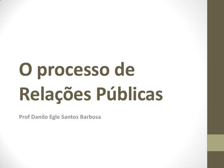 O processo deRelações PúblicasProf Danilo Egle Santos Barbosa