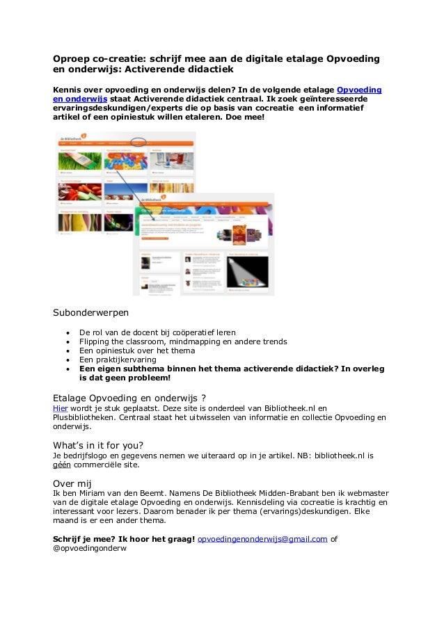 Oproep co-creatie: schrijf mee aan de digitale etalage Opvoedingen onderwijs: Activerende didactiekKennis over opvoeding e...