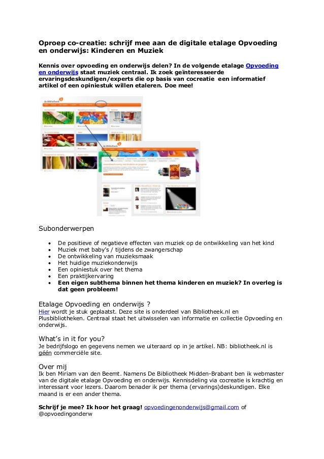 Oproep co-creatie: schrijf mee aan de digitale etalage Opvoedingen onderwijs: Kinderen en MuziekKennis over opvoeding en o...