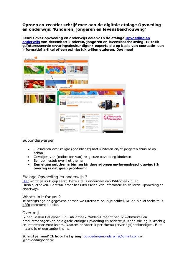 Oproep co-creatie: schrijf mee aan de digitale etalage Opvoedingen onderwijs: 'Kinderen, jongeren en levensbeschouwing'Ken...