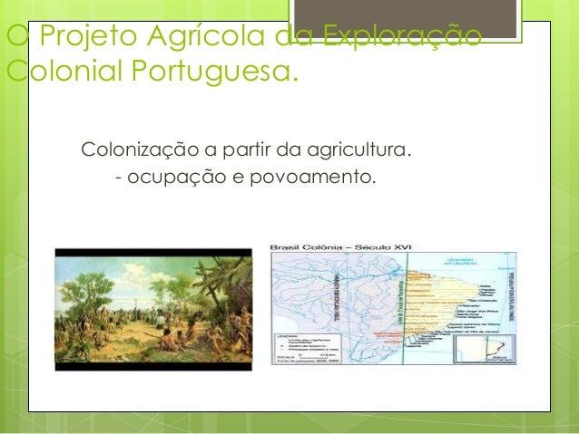 O Projeto Agrícola da Exploração  Colonial Portuguesa.  Colonização a partir da agricultura.  - ocupação e povoamento.