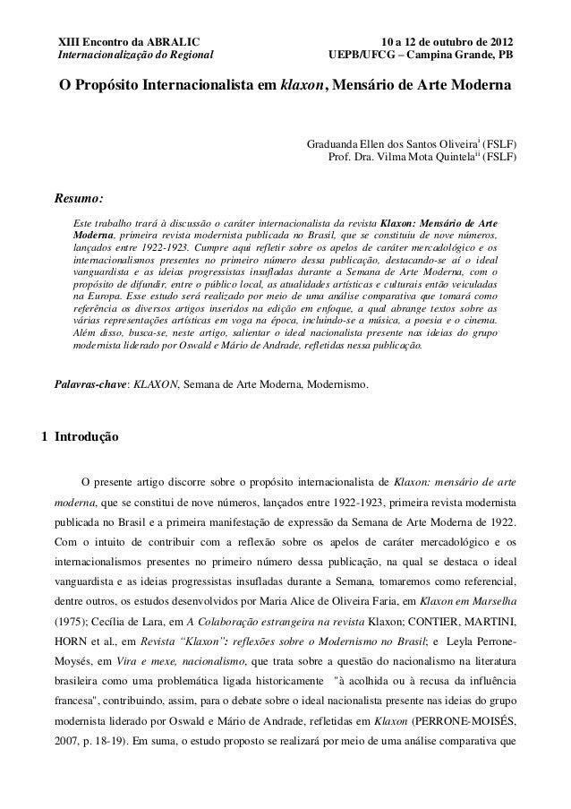 XIII Encontro da ABRALIC                                               10 a 12 de outubro de 2012  Internacionalização do ...