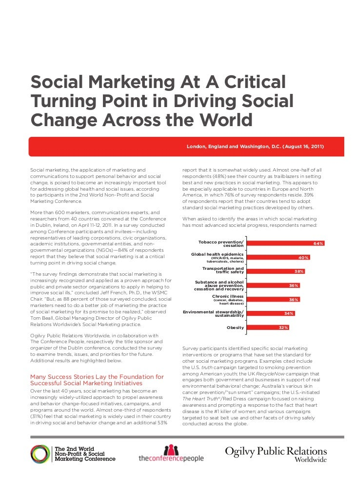 Social Marketing At A CriticalTurning Point in Driving SocialChange Across the World                                      ...