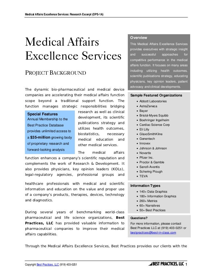 Medical Affairs Excellence Services: Research Excerpt (OPS-1A)Medical Affairs                                             ...