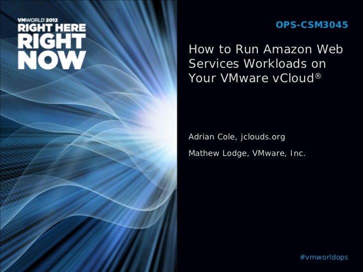 OPS-CSM3045How to Run Amazon WebServices Workloads onYour VMware vCloud®Adrian Cole, jclouds.orgMathew Lodge, VMware, Inc....