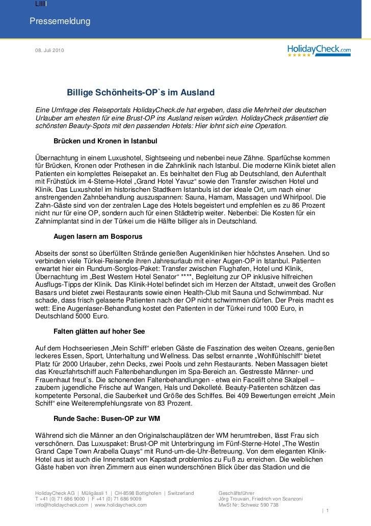 LlllllPressemeldung 08. Juli 2010                 Billige Schönheits-OP`s im Ausland Eine Umfrage des Reiseportals Holiday...