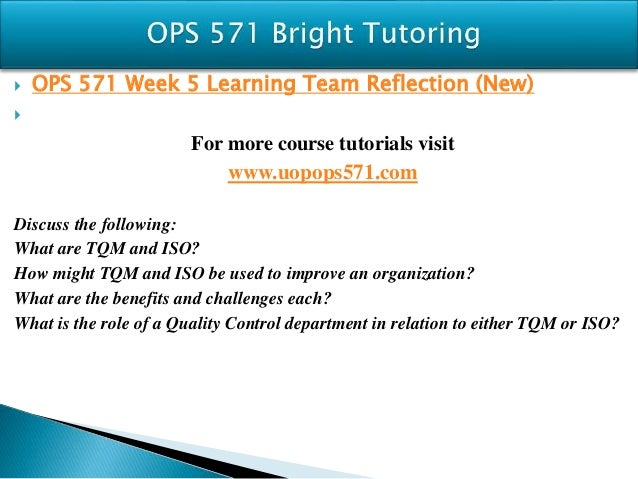 Ops 571 team reflection week 2