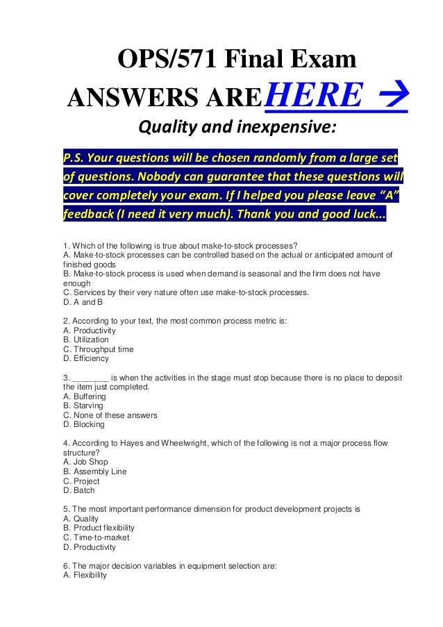 ops571 final exam