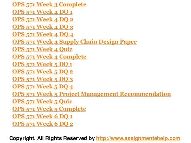 OPS 571 WEEK 1 COMPLETE WORK