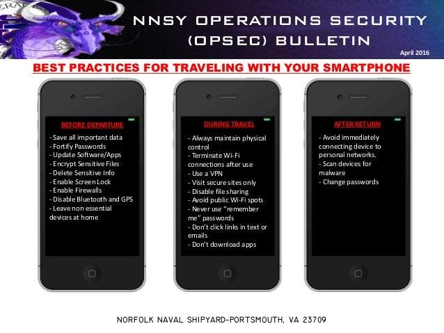 NNSY OPERATIONS SECURITY (OPSEC) BULLETIN NORFOLK NAVAL SHIPYARD-PORTSMOUTH, VA 23709 April 2016 BEFORE DEPARTURE DURING T...