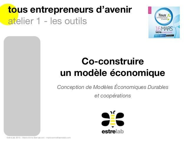 EstreLab 2015 - Marie-Anne Bernasconi - marie-anne@estrelab.com tous entrepreneurs d'avenir atelier 1 - les outils Concept...