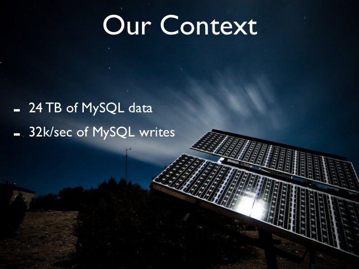 Our Context  -   24 TB of MySQL data -   32k/sec of MySQL writes