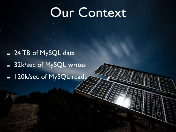 Our Context  -   24 TB of MySQL data -   32k/sec of MySQL writes -   120k/sec of MySQL reads