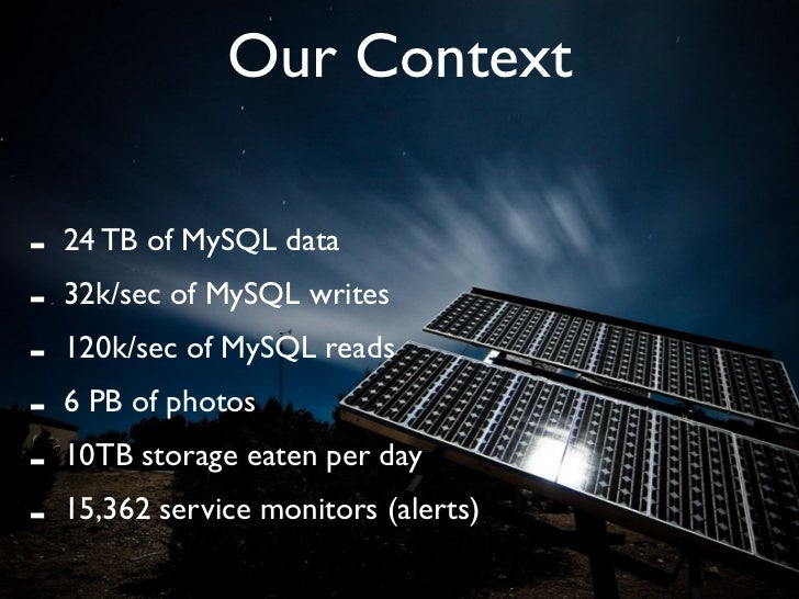Our Context  -   24 TB of MySQL data -   32k/sec of MySQL writes -   120k/sec of MySQL reads -   6 PB of photos -   10TB s...
