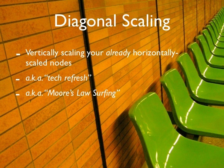 "Diagonal Scaling -   Vertically scaling your already horizontally-     scaled nodes -   a.k.a. ""tech refresh"" -   a.k.a. ""..."