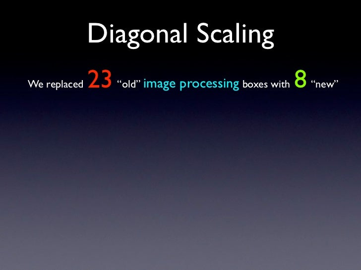 "Diagonal Scaling               23 ""old"" image processing boxes with 8 ""new"" We replaced"