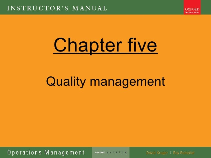 Chapter fiveQuality management