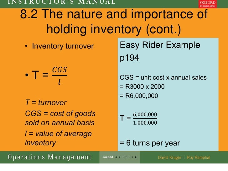 8.2 The nature and importance of     holding inventory (cont.)