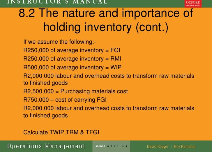 8.2 The nature and importance of     holding inventory (cont.)If we assume the following:-R250,000 of average inventory = ...