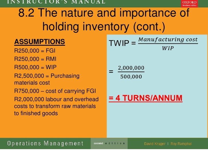 8.2 The nature and importance of      holding inventory (cont.)ASSUMPTIONSR250,000 = FGIR250,000 = RMIR500,000 = WIPR2,500...