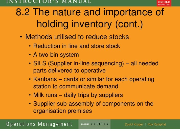 8.2 The nature and importance of     holding inventory (cont.)• Methods utilised to reduce stocks  • Reduction in line and...