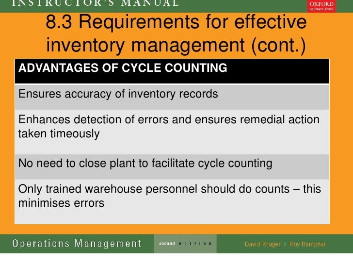 8.3 Requirements for effective     inventory management (cont.)ADVANTAGES OF CYCLE COUNTINGEnsures accuracy of inventory r...
