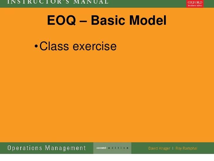 EOQ – Basic Model• Class exercise