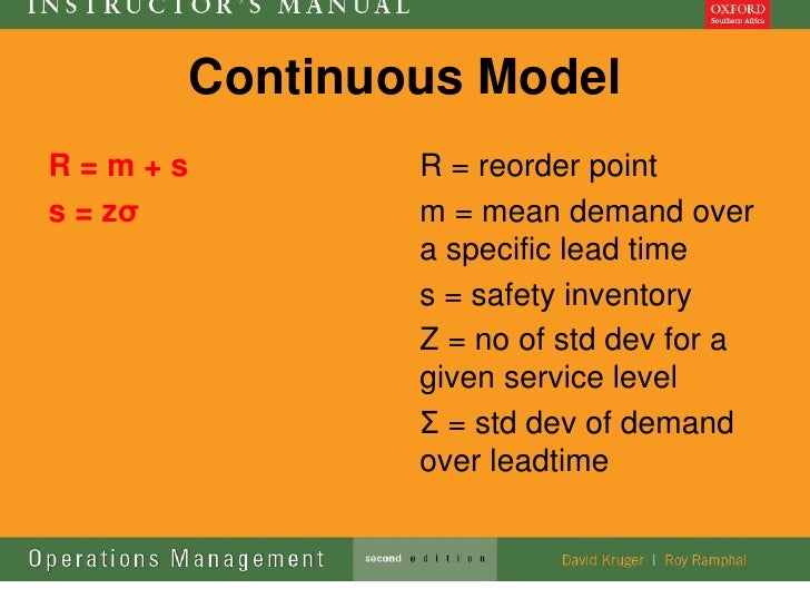 Continuous ModelR=m+s            R = reorder points = zσ           m = mean demand over                 a specific lead ti...
