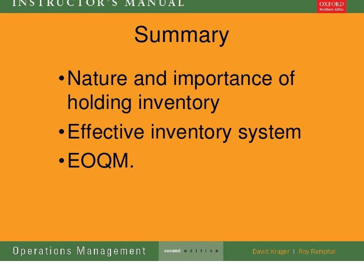 Summary• Nature and importance of  holding inventory• Effective inventory system• EOQM.