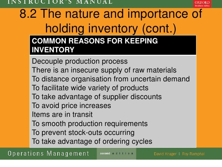 8.2 The nature and importance of     holding inventory (cont.)  COMMON REASONS FOR KEEPING  INVENTORY  Decouple production...