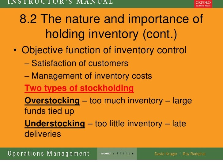 8.2 The nature and importance of      holding inventory (cont.)• Objective function of inventory control  – Satisfaction o...