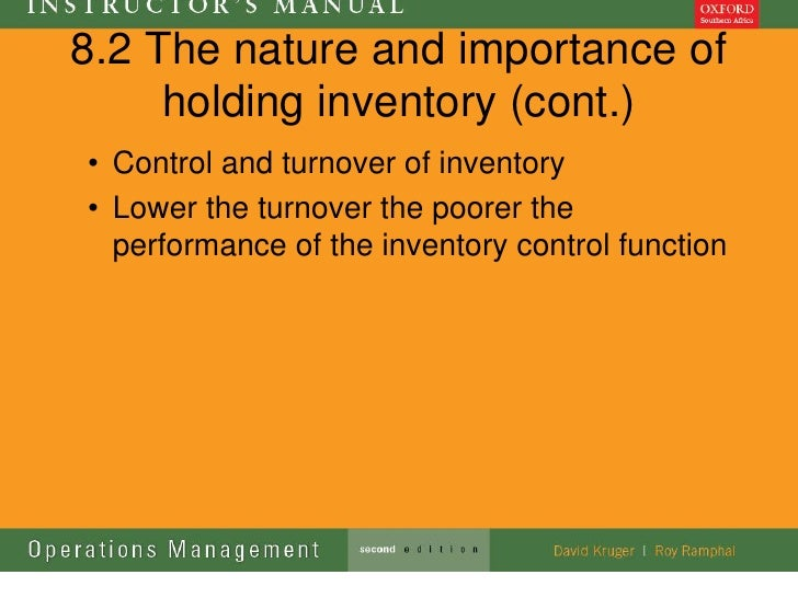 8.2 The nature and importance of     holding inventory (cont.)• Control and turnover of inventory• Lower the turnover the ...