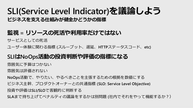 SLI(Service Level Indicator)を議論しよう ビジネスを支える仕組みが健全かどうかの指標 監視 = リソースの死活や利用率だけではない サービスとしての死活 ユーザー体験に関わる指標 (スループット、遅延、HTTPステー...