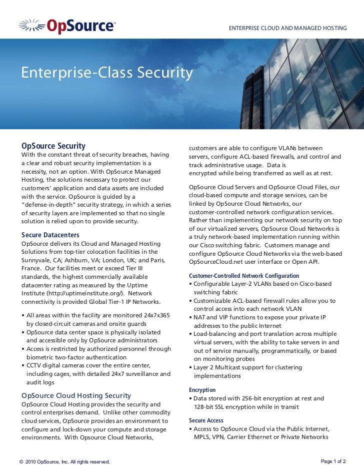 ENTERPRISE CLOUD AND MANAGED HOSTINGEnterprise-Class Security OpSource Security                                         cu...